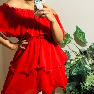 Prettylittlething Red Mini Frill Spanish Dress